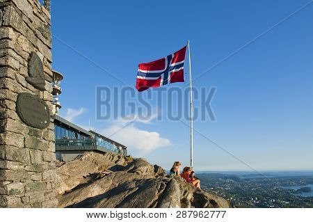 Bergen, Norway - July 19, 2018: A Beautiful View With Norwegian Flag Seen From The Mount Ulriken In