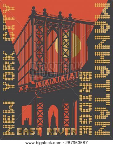 Manhattan Bridge, New York City, Silhouette Illustration In Flat Design, T-shirt Print Design Or Pos