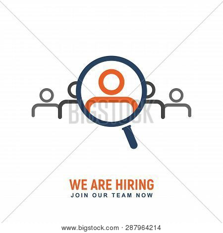 Recruitment People For Work Vector Logo. Hiring Icon. Search Professional To Job Isolated Logotype