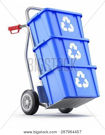 Hand Truck With Blue Plastic Recycle Crate - 3d Illustration