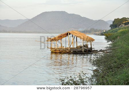 Hut View River Thailand Country Bamboo