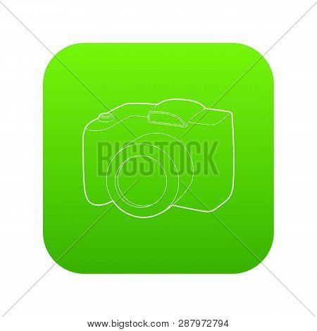 Slr Camera Icon Green Vector Isolated On White Background