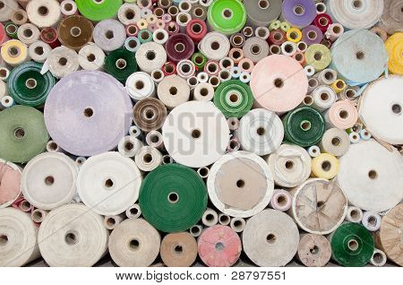 Old color paper roll wall