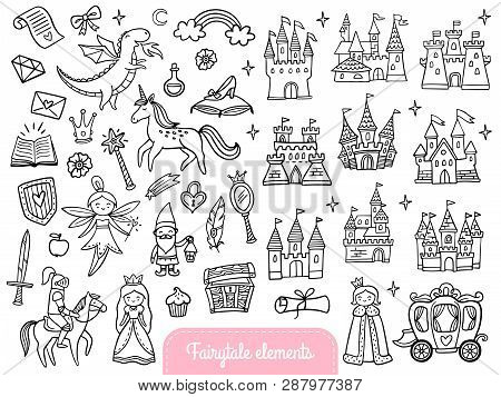 Big Set Of A Fashion Fairy Tale And Magic Objects Isolated On White Background. Cute Doodle Illustra