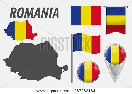 Romania. Collection Of Symbols In Colors National Flag On Various Objects Isolated On White Backgrou