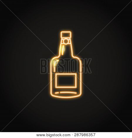 Port Wine Bottle Icon In Glowing Neon Style