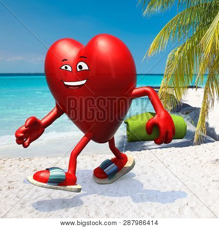 Heart With Arms, Legs, Sunglass And Sandals On The Beach Chair Reading A Book, 3d Illustration
