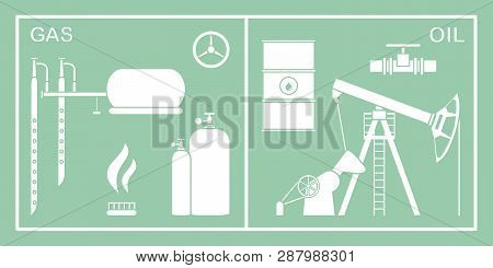 Vector Illustration With Equipment For Oil And Gas Production. Oil Industry, Gas Industry. Extractio