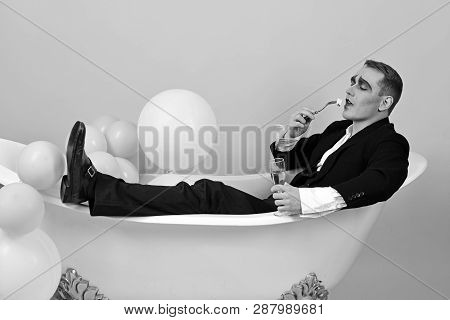 Happy Bubble Bath Day. Mime Actor Enjoy Bathing In Bath Tub. Mime Man Has Celebration Party With Foo