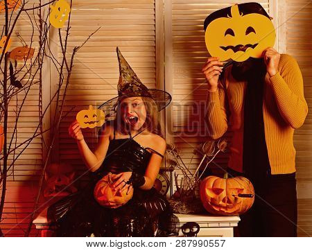 Small Girl Enjoy Halloween Party With Father. Small Girl And Father Celebrate Halloween. Party Time.