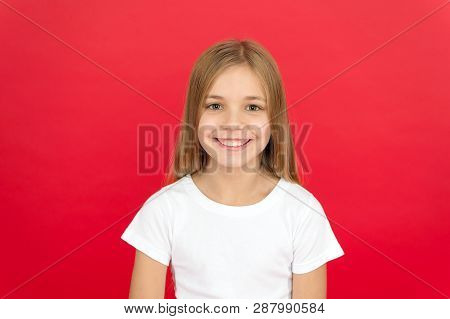Sincere Emotions. Brilliant Smile Concept. Girl Happy Smiling Face Over Red Background. Emotional Ki