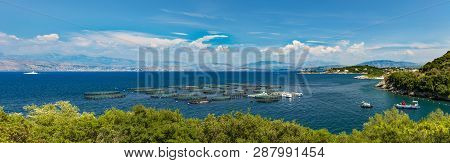 Aquaculture of fish off the shores of Corfu poster