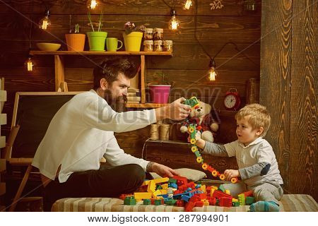 Fathers Day Concept. Father And Baby Son Play With Toys On Fathers Day. I Have Fathers Day Everyday.