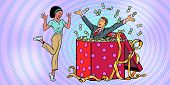 businessman husband lots of money holiday gift box. African woman funny reaction joy. Pop art retro vector illustration vintage kitsch 50s 60s poster