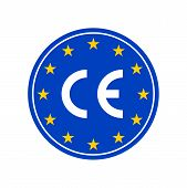 CE marking label, European Conformity certification mark. Vector EU high quality stars poster