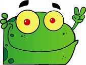 Frog Gesturing The Peace Sign With His Hand Cartoon Character poster