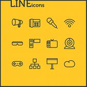 illustration of 12 music icons line style. Editable set of telephone, bullhorn, webcam and other icon elements. poster