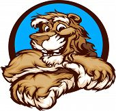 Cougar with Paws Smiling Mascot Vector Illustration poster
