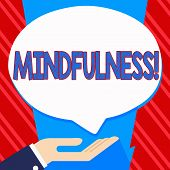 Conceptual hand writing showing Mindfulness. Business photo text Being Conscious Awareness Calm Accept thoughts and feelings. poster