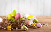 Easter composition with colorful Easter eggs in nest ,spring flowers and branches of pussy willows on wooden background. Easter card with copy space. poster