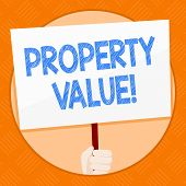 Conceptual hand writing showing Property Value. Business photo showcasing Estimate of Worth Real Estate Residential Valuation. poster