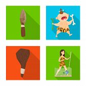 Isolated object of evolution  and prehistory sign. Set of evolution  and development  vector icon for stock. poster