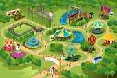 A vector illustration of a map of an amusement park poster