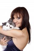 Charming young woman with persian cat isolated on white background poster