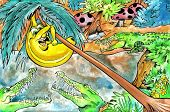 pen and ink illustration of a banana being chased by hungry crocodiles. poster