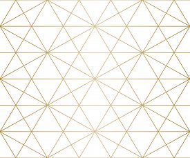Golden Lines Pattern. Vector Geometric Seamless Texture With Delicate Grid, Thin Diagonal Lines, Hex
