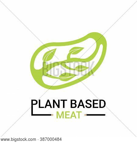 Plant-based Meat Icon. Design By Meat Chop With Branch And Leaves Inside. Vegetable Meat Or Artifici