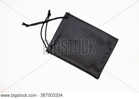 Small Bag. Clutch With Black Laces. Pouch And Laces. Black Case. Small Black Pouch