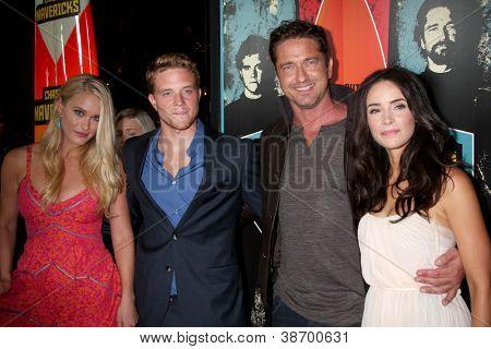 LOS ANGELES - OCT 18:  Leven Rambin, Jonny Weston, Gerard Butler, Abigail Spencer arrives at  the