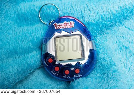Belarus, Novopolotsk - September 29, 2020: Virtual Pet Tamagotchi