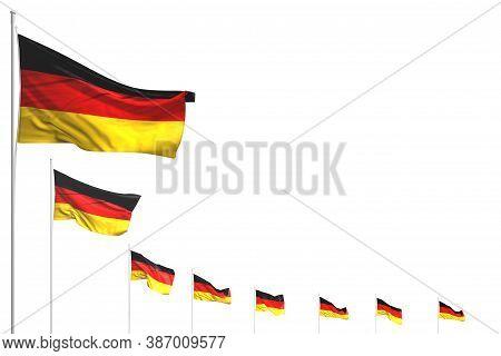 Beautiful Any Celebration Flag 3d Illustration  - Many Germany Flags Placed Diagonal Isolated On Whi