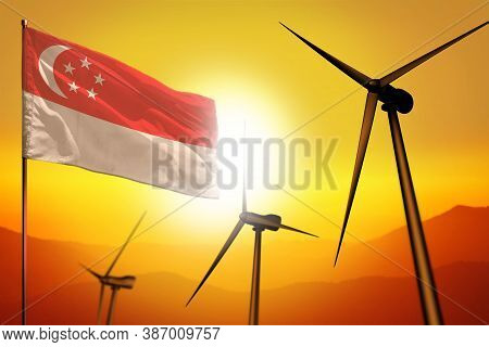 Singapore Wind Energy, Alternative Energy Environment Concept With Turbines And Flag On Sunset - Alt