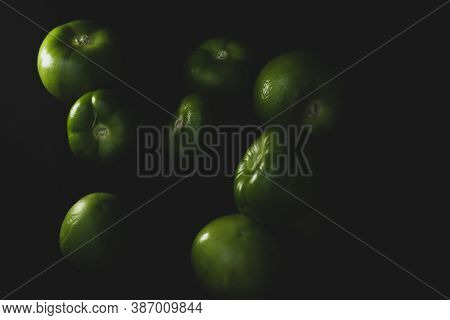 Macro Close Up Portrait Of Tomatillo, Mexican Husk Tomato, Selective Focus