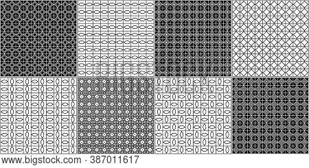 Rhombuses, Diamonds, Tiles, Checks, Squares, Triangles, Ovals Seamless Patterns Collection. Geometri