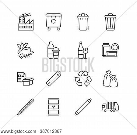 Recycling And Sorting Of Waste Line Flat Icon Set. Garbage Sorting. Vector Illustration Trash, Facto