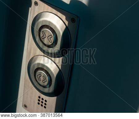 Train Door Opener Button. Two Buttons For Opening And Closing The Door In An Electric Train. Iron Bu