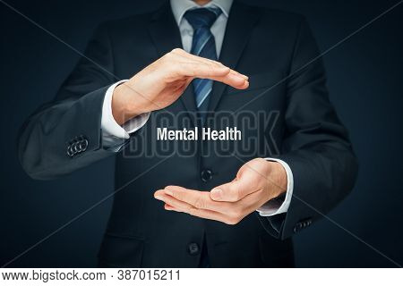 Protect Your Mental Health Psychology Concept. Psychologist With Protective Hand Gesture And Text Me