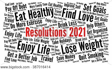Resolutions 2021 Word Cloud Concept With A White Background