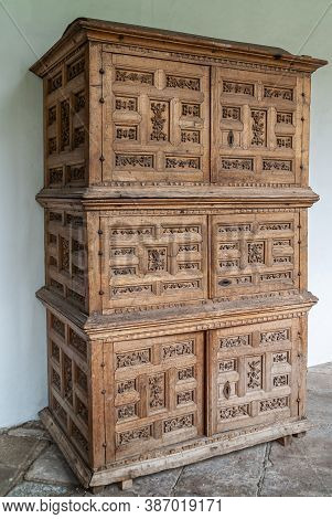 Quito, Ecuador - December 2, 2008: Historic Downtown. Sculpted Brown Wooden Cabinet At Dominican Art