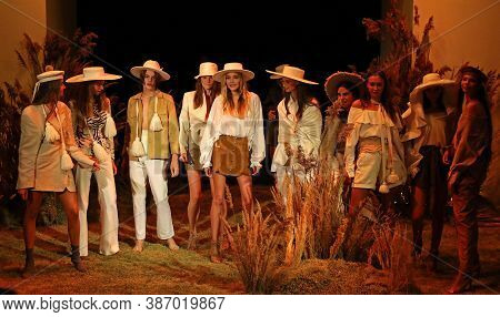 Kyiv, Ukraine - September 1, 2018: Models Present A Creation By Designer Ruslan Baginskiy During Ukr