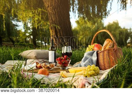 Picnic Blanket With Delicious Food And Wine In Park