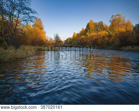 Autumn Landscape, Forest Trees Are Reflected In Calm River Water Against A Background Of Blue Sky An