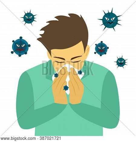 A Man Cover His Sneeze With Handkerchief Vector Illustration On White Background. Sneezing Man In Gr