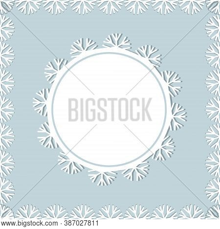 Set Of Lace Isolated Christmas Frames Snowflakes White, Round And Square, Color Vector Illustration