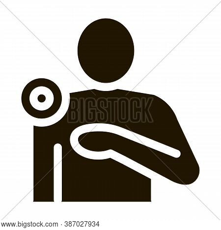 Pinpoint Shoulder Pain Glyph Icon Vector. Pinpoint Shoulder Pain Sign. Isolated Symbol Illustration