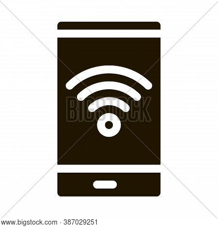 Smartphone Wi-fi Connection Glyph Icon Vector. Smartphone Wi-fi Connection Sign. Isolated Symbol Ill